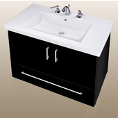 Wall-Hung Daytona 30'' Two Doors And One Bottom Drawer Vanity for Fiorella Ceramic Sink in Black Gloss with Polished Hardware