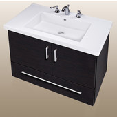 Wall-Hung Daytona 30'' Two Doors And One Bottom Drawer Vanity for Fiorella Ceramic Sink in Black Wood with Polished Hardware