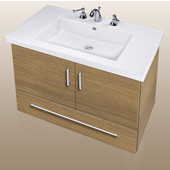 Wall-Hung Daytona 30'' Two Doors And One Bottom Drawer Vanity for Fiorella Ceramic Sink in Golden Wheat with Polished Hardware