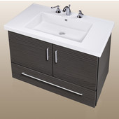 Wall-Hung Daytona 30'' Two Doors And One Bottom Drawer Vanity for Fiorella Ceramic Sink in Greyline Gloss with Polished Hardware