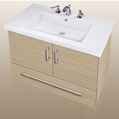 Wall-Hung Daytona 30'' Two Doors And One Bottom Drawer Vanity for Fiorella Ceramic Sink in Pickled Oak with Polished Hardware