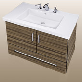 Wall-Hung Daytona 30'' Two Doors And One Bottom Drawer Vanity for Fiorella Ceramic Sink in Timber Gloss with Polished Hardware