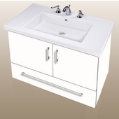 Wall-Hung Daytona 30'' Two Doors And One Bottom Drawer Vanity for Fiorella Ceramic Sink in White Gloss with Polished Hardware