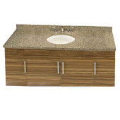 Wall-Hung Daytona 60'' Vanity for Single Bowl Cut-Out Stone Countertops with Multiple Finishes, Sink and Frame & Hardware Option