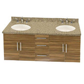 Wall-Hung Daytona 60'' Vanity for 6122 Double Bowl Cut-Out Stone Countertops with Multiple Finishes, Sink and Frame & Hardware Option