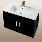 Daytona Collection 30'' Wall Hung 2-Door Bathroom Vanity in Black Gloss with Polished or Satin Hardware with Multiple Sink Top Options