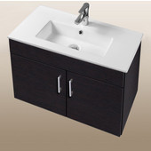 Daytona Collection 30'' Wall Hung 2-Door Bathroom Vanity in Blackwood with Polished or Satin Hardware with Multiple Sink Top Options
