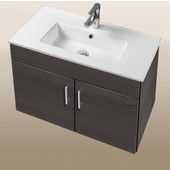 Daytona Collection 30'' Wall Hung 2-Door Bathroom Vanity in Greyline Gloss with Polished or Satin Hardware with Multiple Sink Top Options