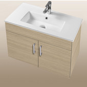 Daytona Collection 30'' Wall Hung 2-Door Bathroom Vanity in Pickled Oak with Polished or Satin Hardware with Multiple Sink Top Options