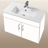 Daytona Collection 30'' Wall Hung 2-Door Bathroom Vanity in White Gloss with Polished or Satin Hardware with Multiple Sink Top Options