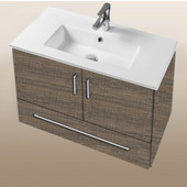 Daytona Collection 30'' Wall Hung 2-Door/1-Drawer Bathroom Vanity in Bermuda Days with Polished or Satin Hardware with Multiple Sink Top Options