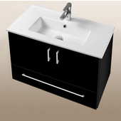 Daytona Collection 30'' Wall Hung 2-Door/1-Drawer Bathroom Vanity in Black Gloss with Polished or Satin Hardware with Multiple Sink Top Options