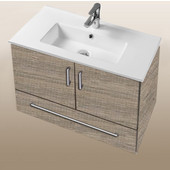 Daytona Collection 30'' Wall Hung 2-Door/1-Drawer Bathroom Vanity in Bermuda Nights with Polished or Satin Hardware with Multiple Sink Top Options