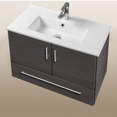 Daytona Collection 30'' Wall Hung 2-Door/1-Drawer Bathroom Vanity in Greyline Gloss with Polished or Satin Hardware with Multiple Sink Top Options