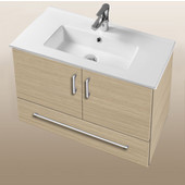 Daytona Collection 30'' Wall Hung 2-Door/1-Drawer Bathroom Vanity in Pickled Oak with Polished or Satin Hardware with Multiple Sink Top Options