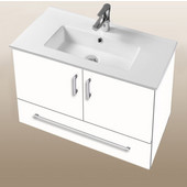 Daytona Collection 30'' Wall Hung 2-Door/1-Drawer Bathroom Vanity in White Gloss with Polished or Satin Hardware with Multiple Sink Top Options