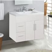 Wall-Hung Metropolitan 30'' Vanity for Kira Ceramic Sinks in White Matte with Polished Hardware, 2 Doors & 2 Left Drawers (Wall Mounting Hardware included)