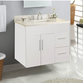 Wall-Hung Metropolitan 30'' Vanity for 3122 Stone Countertops in White Matte with Polished Hardware, 2 Doors & 2 Left Drawers (Wall Mounting Hardware included)