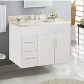 Wall-Hung Metropolitan 36'' Vanity for 3722 Stone Countertops in White Matte with Polished Hardware, 2 Doors & 2 Left Drawers (Wall Mounting Hardware included)