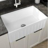 Yorkshire Reversible Farmhouse Fireclay 30'' Single Bowl Kitchen Sink in White, 30'' W x 18'' D x 10'' H