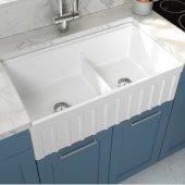 Yorkshire Reversible Farmhouse Fireclay 33'' Double Bowl Kitchen Sink in White, 33'' W x 18'' D x 10'' H