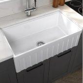 Yorkshire Reversible Farmhouse Fireclay 33'' Single Bowl Kitchen Sink in White, 33'' W x 18'' D x 10'' H