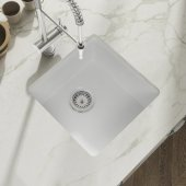 Yorkshire Undermount Fireclay 17'' Square Bar Kitchen Sink in White, 17'' W x 17'' D x 8-5/8'' H