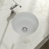 Yorkshire Undermount Fireclay 18-1/2'' Round Bar Kitchen sink in White, 18-1/2 Diameter x 8-5/8'' H