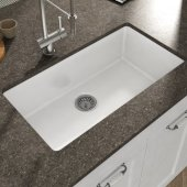 Yorkshire Undermount Fireclay 32'' Rectangular Single Bowl Kitchen Sink in White, 31-1/2'' W x 18-3/8'' D x 9-13/16'' H