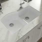 Yorkshire Undermount Fireclay 33'' Double Bowl D-Shape Kitchen sink in White, 33'' W x 21'' D x 9-13/16'' H