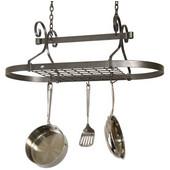 - Oval Pot Rack - Knock-Down Version, Hammered Steel