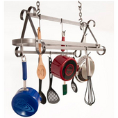 Compact Scrolled Hammered Steel Pot Rack, 30''W x 12''D x 20''H