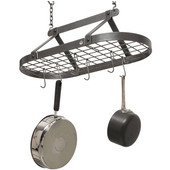 Décor Classic Stainless Steel Oval Ceiling Hung Pot Rack with Grid Hammered Steel