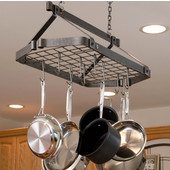 Décor Retro Rectanglular Ceiling Hanging Mount Pot Rack with Grid Hammered Steel