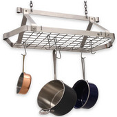 Décor Collection Retro Stainless Steel Rectangular Pot Rack with Grid