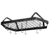 Low Ceiling Retro Rectangle Pot Rack, 30''W x 16''D x 5''H