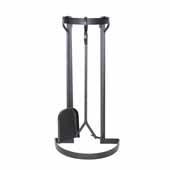 Premium Collection Indoor/Outdoor Half Circle Tool Set in Hammered Steel, 8''W x 9-1/4''D x 27-1/2''H