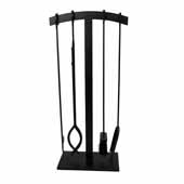 Habitat, Import Collection 4 Piece Arch Top Fireplace Tool Set in Black, 16''W x 7''D x 32''H