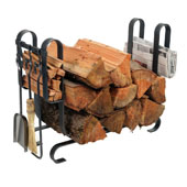 Large Modern Log Rack with 3-Piece Tool Set