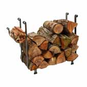 Premium Collection Indoor/Outdoor Rectangle Fireplace Log Rack in Hammered Steel, 25''W x 12-1/2''D x 26-1/2''H