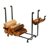Premium Collection Large Rectangle Fireplace Log Rack in Hammered Steel, 36''W x 12-1/2''D x 26-1/2''H