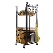 Premium Collection Sling Fireplace Log Rack With Bar and Tools in Hammered Steel, 14''W x 16''D x 34''H