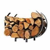 Premium Collection Indoor/Outdoor U Shaped Small Log Rack in Hammered Steel, 22''W x 13''D x 14-1/2''H