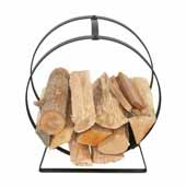 Hearth Collection Indoor/Outdoor Hoop Log Rack with Handle in Hammered Steel, 19-1/2'W x 10'D x 22-3/4'H