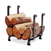 Premium Collection Indoor/Outdoor Hearth Fireplace Log Rack in Hammered Steel, 17-1/2''W x 13''D x 19''H