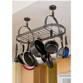 Rack It Up Oval Ceiling Rack with 12 Hooks, Hammered Steel, 34''W X 14''D x 16''H