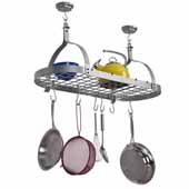 Rack It Up, Import Collection Oval Ceiling Rack with 12 Hooks Silver, 34''W X 14''D x 16''H