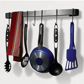 Rack It Up, Import Collection Rack It Up Long Wall Rack Utensil Bar with 12 Hooks in Steel Gray Hammertone, 32''W x 2''D x 5''H