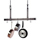 36'' Hammered Steel Adjustable Ceiling Mounted Bar Pot Rack