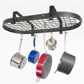 Low Ceiling Oval Kitchen Pot Rack with Grid, Hammered Steel